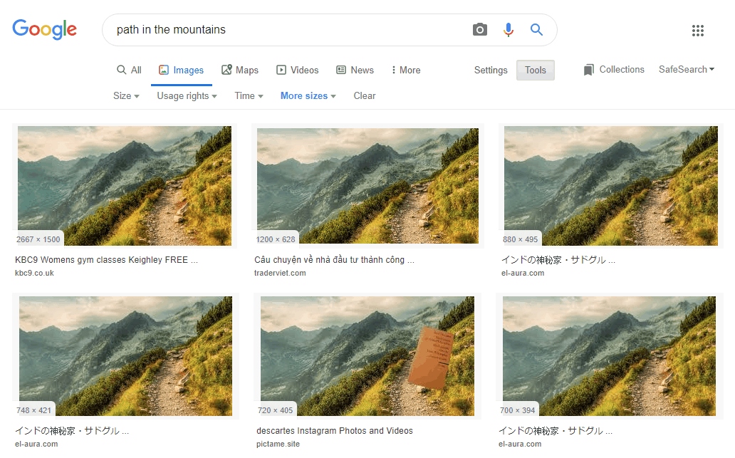 Google Images search result by image-dimensions and quality